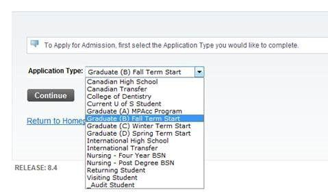 drop down menu for applications